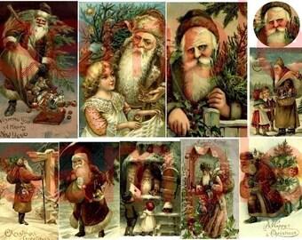 Antique Santa...Brown Coats...Father Christmas....Digital Collage Sheet