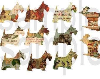 Altered Scottish Terriers SCOTTIES Digital Collage Sheet