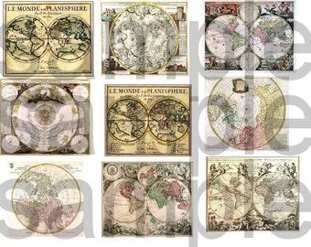 Antique World MAPS.... Digital Collage Sheet