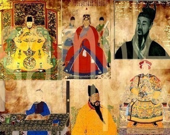 Ancient Chinese EMPERORS 2 Collage Sheets Bundle