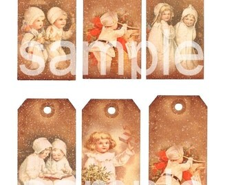 Vintage Clapsaddle Christmas Children and Babies Grungy Snowy TAGS on  2 DIgital Collage Sheets bundle