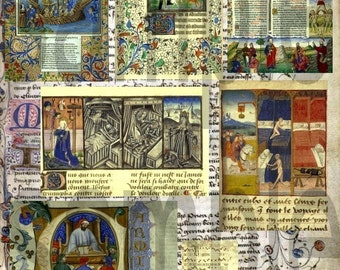 Medieval Manuscript Snippets  Digital Collage Sheet