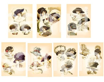 Vintage Late 19th Century  Luscious French HAT  Fashions  ATC  ACEO sized   Digital Collage Sheet