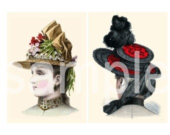Antique Turn of the Century HAT Portraits  Most Gorgeous EVER Two 5 x 7s  You Print and Frame   Set B