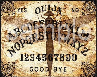 8x10 inch SteamPunk Dragonfly Ouija Board  Altered   Digital Collage Sheet