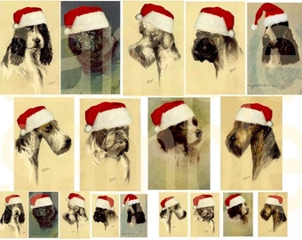Antique Altered Santa DOGS....Vintage Christmas Dogs....Digital Collage Sheet