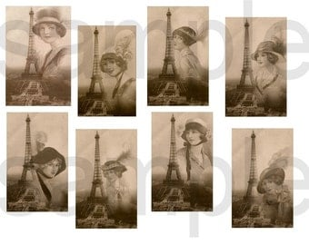 Vintage ALtered Paris Chapeaux...Eiffel Chic... Digital Collage Sheet