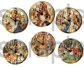 Vintage Tenniel ALICE in WONDERLAND Altered Clock Faces  Digital Collage Sheet
