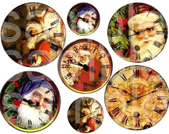 Altered SANTA Clocks...Father Christmas...Vintage...Digital Collage Sheet