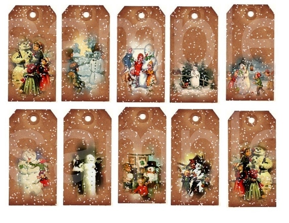 Altered Vintage SNOWMAN ...Grungy Tags....Digital Collage Sheet