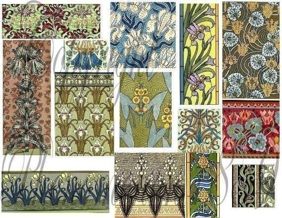 Items Similar To Vintage Art Nouveau Floral Design Motifs Digital
