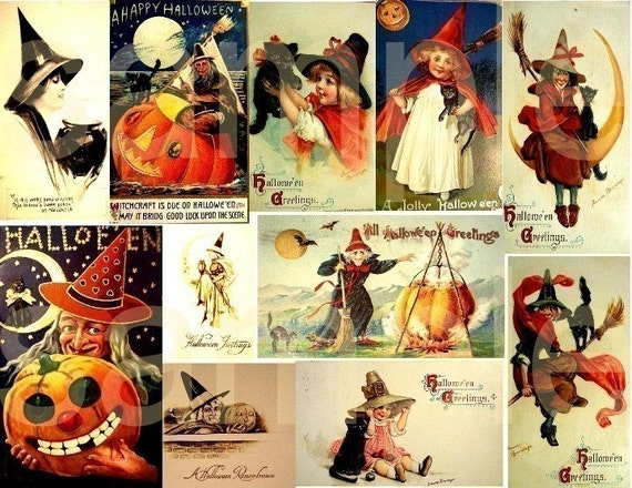 Spooky and Not So Spooky Halloween Vintage Witches....3 Digital Collage Sheets Bundle