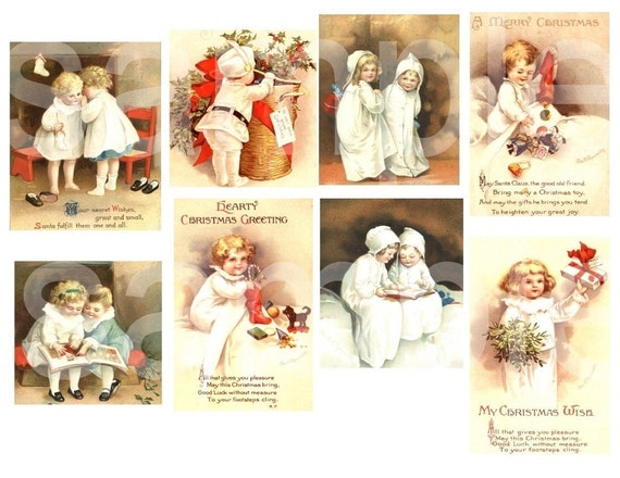 Vintage Clapsaddle Christmas Children and Babies from old postcards  3 DIgital Collage Sheets bundle