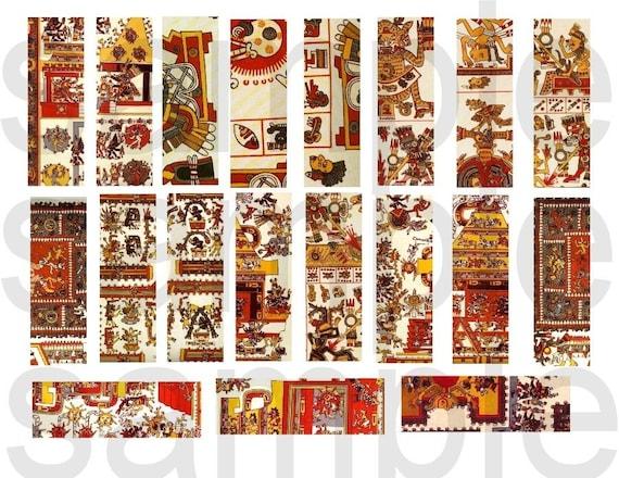 38 Ancient Aztec...Mexican...Codex Motif....1 x 3 Charms...2 Digital Collage Sheets