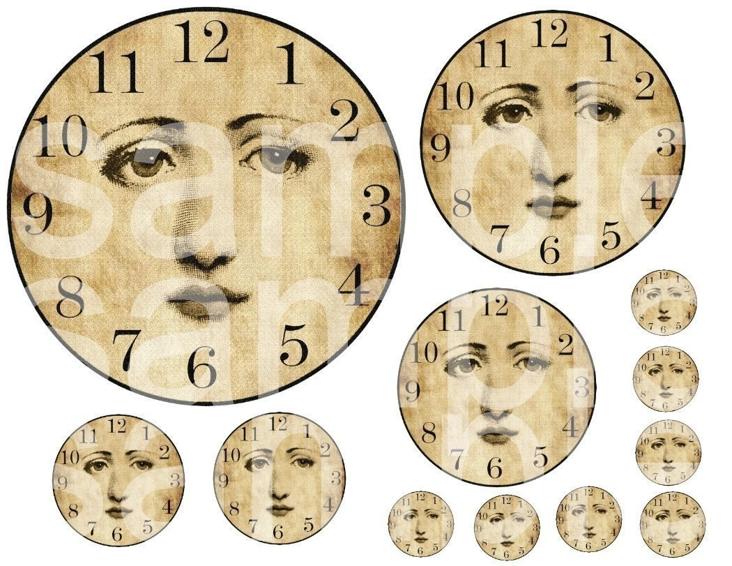 Old Clock Face No Hands Vintage angelic altered clock