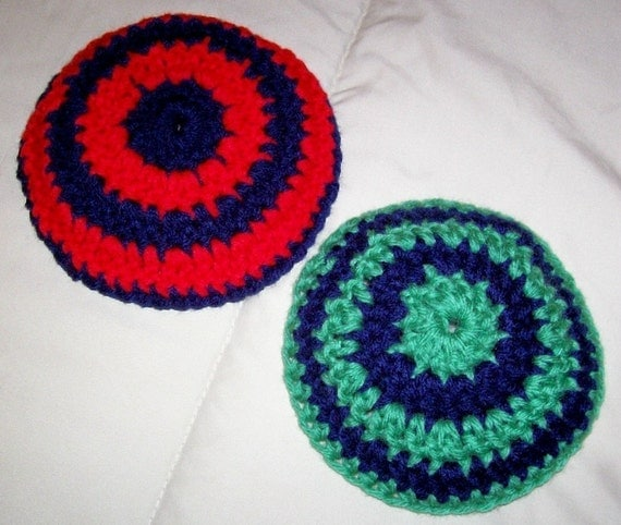 Crochet Patterns Kippah : PDF Colorfully Striped Kippah Yarmulke by designsbydgoldoff