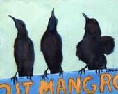 "Crows Bird Art Print of Original Painting by Dottie Dracos, Ravens, Black Birds, Blackbirds ""The Weathermen"""