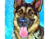 German Shepherd Art Print Painted Dottie Dracos,  Dog Art, Smiling German Shepherd
