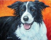 """Border Collie Art Print of Original Painting Dog Art by Dottie Dracos """"Border Collie on Red"""""""