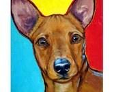 """Miniature Pinscher Art 11x14"""" Print by Dottie Dracos, Minpin on Bright, Dog Art"""