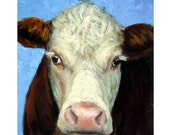 Cow Farm Animal Art Print, by Dottie Dracos, Hereford Cow Face