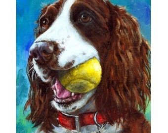 English Springer Spaniel Art Dog Print of Original Painting by Dottie Dracos, Liver Springer with Tennis Ball