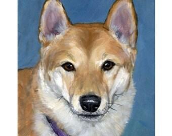 Shiba Inu Portrait Art Print of Original Painting by Dottie Dracos