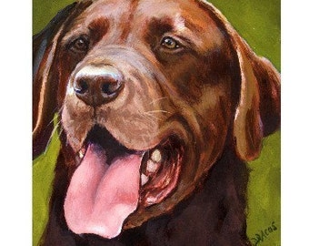 Labrador Retriever Dog Art Print by Dottie Dracos, Chocolate Lab on Green
