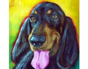 "Coonhound Portrait Dog Art Print by Dottie Dracos ""Black and Tan Coonhound"""