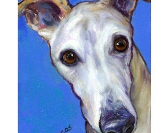 "Greyhound Art Print of Original Painting by Dottie Dracos, ""Nosy Grey"" Dog Art"