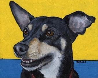 Chihuahua(Chiweenie), on Blue and Yellow Dog Art Print of Original Painting by Dottie Dracos, black and tan, dog painting