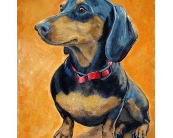 Dachshund Dog Art, Sitting, on Orange, Dog Art print by Dottie Dracos
