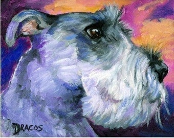 Schnauzer profile Dog Art Signed Print of Original Painting by Dottie Dracos