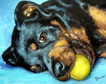 Rottweiler Art Print of Original Painting by Dottie Dracos, Dog Art, Dog Prints, Animal Art, Rottie with Tennis Ball