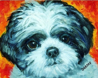 Shih Tzu Black and White Pup Dog Art Print of Original Painting by Dottie Dracos