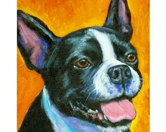 "Boston Terrier Dog Art Print of Original Painting by Dottie Dracos ""On Orange"""