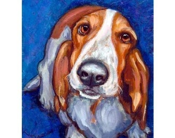 "Basset Hound Art Dog Art Print of Original Painting by Dottie Dracos ""Sweet Basset on Blue"""