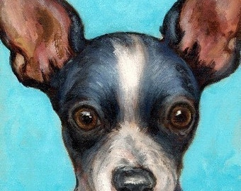 "Chihuahua Dog Art Print of Original Painting by Dottie Dracos ""Black and White Shorthaired Chihuahua"""