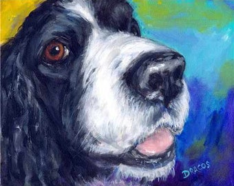 English Springer Spaniel Dog Art Print of Original Painting by Dottie Dracos, A Loving Springer Look