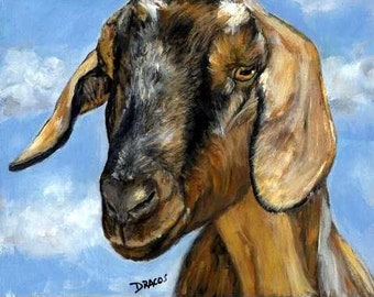 Nubian Goat  Art  Print of Original Acrylic Painting on a Blue Sky Background, Farm Animal
