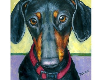 """Dachshund Dog Art Print of Painting by Dottie Dracos """"Black and Tan Doxie on light green"""""""