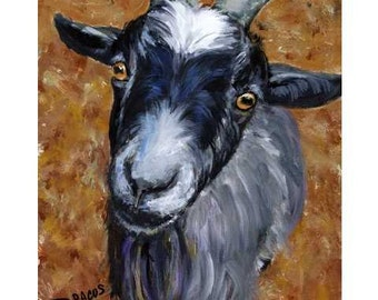 Pygmy Goat Farm Art print Dottie Dracos, Little Pygmy Goat on the Farm