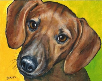 Dachshund Dog Art Print of Original Painting by Dottie Dracos, Red Doxie on Bright Background