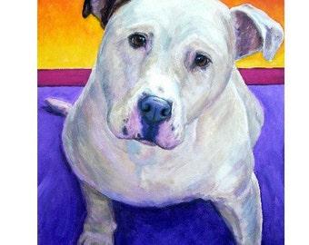 American Bulldog Print by Dottie Dracos, White ABD on Purple, Bully Dogs
