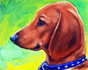 Dachshund  Dog Art Print of Original Painting by Dottie Dracos, Red Doxie Puppy Profile, Dachshund art, Red dachshund
