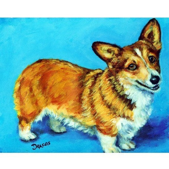 Corgi Dog Art 8x10 Original Painting By Dottie Dracos Corgi