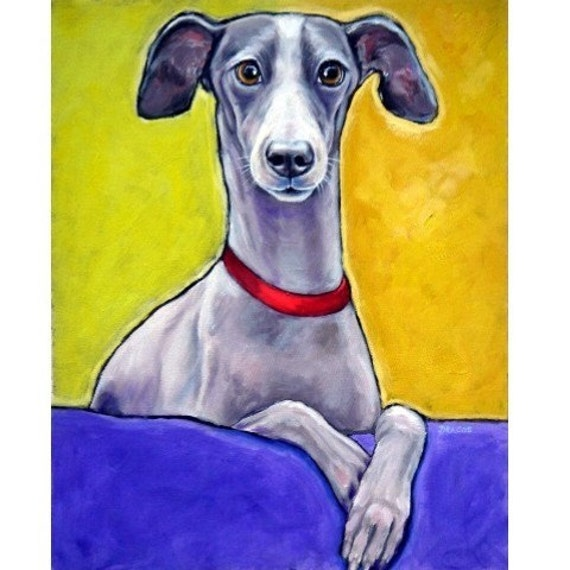 Greyhound Dog Art Print of Original Painting by Dottie Dracos, Iggy on a Bed