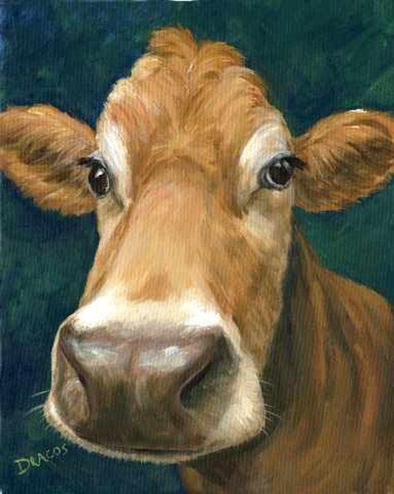 Guernsey cow farm animal art print of painting by dottie for Cow painting print
