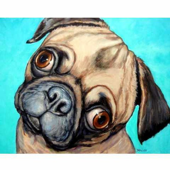 Pug Dog Art Print of Original Painting by Dottie Dracos, Big Eyes, Chinese Pug, Fawn Pug, on Bright Blue Background