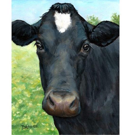 "Holstein Cow Farm Animal Art Print of Original Painting by Dottie Dracos ""Black Face, White Star"""